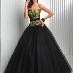 Vestido preto e verde