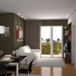 Os móveis planejados combinam com o estilo contemporâneo.