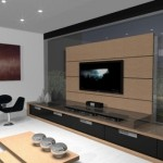 Uma sala moderna e mobiliada sob medida.