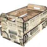 Caixote decorado com jornal. (Foto: Divulgação)