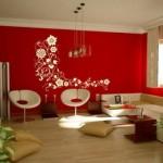 Uma parede colorida inova a decoração da sala.