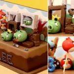O jogo inspirou o acabamento do bolo.