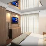A mobília planejada é charmosa, moderna e organizada.