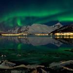 Aurora Boreal sobre a cidade  (Foto:Divulgação)
