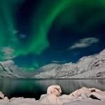 Aurora Boreal nas proximidades do lago (Foto:Divulgação)