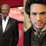 Bonecos de cera: Robert Downey Junior e Morgan Freeman (Foto: Divulgação)