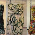 Modelos de vestidos drapeados estampados curtos.