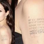 Angelina Jolie tatuou as coordenadas geográficas do local de nascimento de cada filho