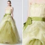 Vestido de Noiva - Verde Com Plumas na Saia