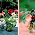 Utensílios se transformam em vasos de flores.