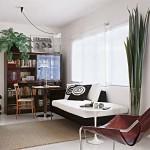 Sala compacta, mas muito funcional, com móveis modernos e bonitos.