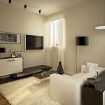 A sala pequena pode ser aconchegante, prática e muito fácil de limpar.