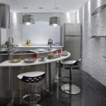 Cozinha com ângulos perfeitos se integra perfeitamente ao resto da casa.