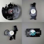 Relógios de parede personalizados feitos com disco de vinil.