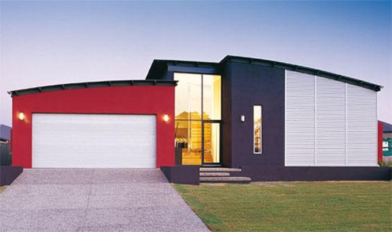 Casas com fachadas modernas fotos for Casa minimalista roja