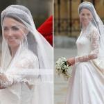 Kate Middleton, vestido clássico de manga longa no seu casamento.