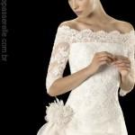 Vestido de noiva mangas três quartos, perfeitas para corte princesa.