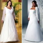 Vestido com mangas longas para noivas acima do peso.