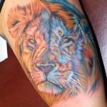 Tatuagem face de leão, simboliza força e garra. (Foto: divulgação)