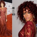 Rihanna vestida para matar e com cabelos crespos maravilhosos