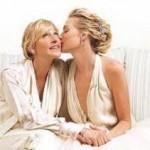 Ellen DeGeneres e Portia Rossi - A apresentadora DeGeneres ficou bastante conhecida na mídia por ser a primeira celebridade homossexual a assumir um relacionamento em Hollywood. (Foto: divulgação)