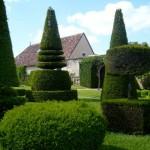 As árvores do jardim receberam podas para adquirir formatos ornamentais.
