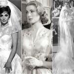Gina Lollobrigida, Grace Kelly e Claudette Colbert vestidas de noiva. (Foto: divulgação)