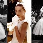 """Assim era o vestido de noiva escolhido pela balconista transformada em top model vivida por Audrey Hepburn no musical """"Cinderela em Paris"""", de 1957. (Foto: divulgação)"""