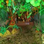 Os balões foram dispostos com o objetivo de simular a floresta.