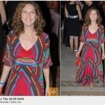 Patricia Pillar usa vestido longo colorido, combinando com seu estilo (Foto: divulgação)