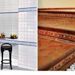 Faixas decorativas em paredes de cozinha e em escadas.