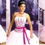 É importante escolher um modelo de vestido que consiga fazer com que a aniversariante se destaque em meio aos convidados. (Foto: divulgação)