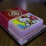 Bolo infantil com decoração dupla, time de futebol e Hello Kitty. (Foto: divulgação)