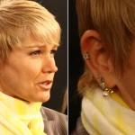 Xuxa exibe piercing na orelha em coletiva de imprensa. (Foto: divulgação)