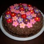 Bolo de chocolate decorado com florzinhas coloridas (Foto: divulgação)