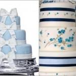 Bolo azul de andares decorado com laços brancos de pasta americana (Foto: divulgação)