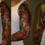 Tatuagem meia manga masculina - Carpa (Foto: divulgação)