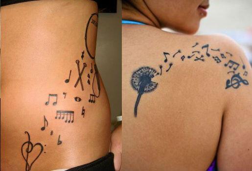 Tatuagem notas musicais espalhadas (Foto: Reprodução)