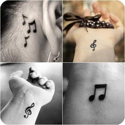 Fotos de tatuagens musicais em diferentes partes do corpo (Foto: Reprodução)