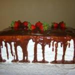 Bolo quadrado coberto com calda de chocolate (Foto: divulgação)
