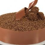Bolo decorado com chocolate granulado e brigadeiro (Foto: divulgação)