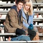 Andrew e Emma em gravações do novo filme.