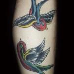 Tatuagem de andorinhas coloridas (Foto: divulgação)