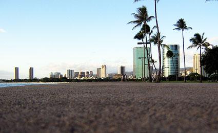 Ao fundo a cidade de Onolulu, no Havaí (Foto: divulgação)