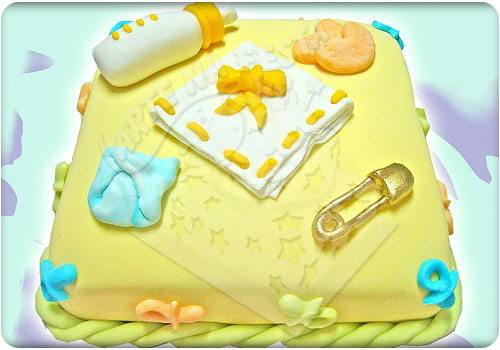 Bolo para chá de bebê decorado em amarelo (Foto: divulgação)