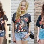 As camisetas com frases ou estampas de bandas famosas são populares.