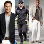 O traje esporte fino pode ser combinado com uma camisa polo, dando elegância e sofisticação ao visual.