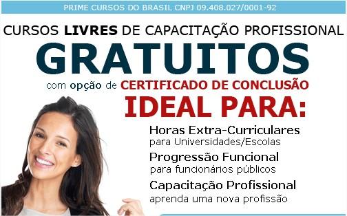 cursos online com matrícula gratuita, disponíveis no site Prime Cursos
