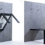 Esta mesa retrátil moderna, quando não usada, se transforma em quadro. (Foto:Divulgação)