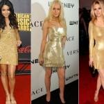 Os vestidos dourados são excelentes para ocasiões noturnas (Foto: divulgação).